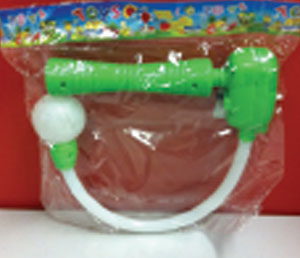 Ball on a stick launcher by R T Toy Factory is a problem because of small parts and a label violation.