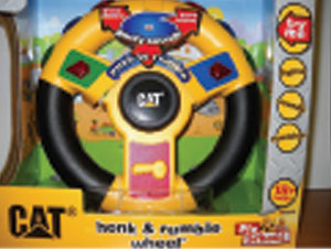 Car wheel/horn by by Toystate.com is a problem because prolonged exposure to loud noises harms small children's hearing.