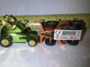 Dragster cars by www.zwindups.com are a problem because of small parts and a label violation.