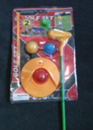 Golfing Game by Aoxing Toys Factory is a problem because of small parts and a label violation.