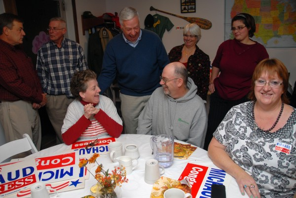 U.S. Rep. Mike Michaud, D-East Millinocket, shares a laugh with supporters after his strong Election Night victory over challenger and state Senate President Kevin Raye on Nov. 6, 2012.