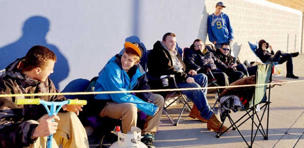 Lance Richard (from left), Trenton Virgin, Joseph Hutchins, Zane Garland, Erick Ryder, Jeffrey Rice and Mike Genereux wait in line at Best Buy in Auburn on Thursday, Nov. 22, 2012. Richard and Virgin, both of Rumford, got in line at 8:30 p.m. Wednesday to make sure they got what they are looking for, a 40-inch television for $179.99.