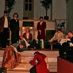 Henry Thoreau dreams of war's consequences. The Night Thoreau Spent in Jail, a play presented by the cast of Theater at the Union Street Brick Church with, left to right: Scott Weeks, Dennis Hamrick, Sarah Weeks, Ivan Flanzala, Dylan Brennan, Macey Jennings, Stephan Metropolous, Heidi Ravenscraft, Nicholas Flanzala, and Kelly Nelson-Santiago.