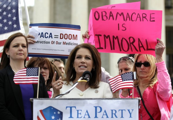 Rep. Michele Bachmann, R-Minn., was accompanied last March in Washington by Tea Party Patriots National Coordinator Jenny Beth Martin, National Coordinator, left, and Lisa Nancollas of the Pennsylvania Tea party Patriots, as they spoke against the the constitutionality of President Barack Obama's health care overhaul.
