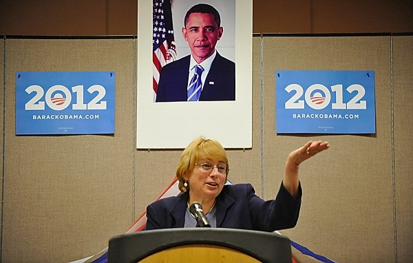 Former Maine Attorney General Janet T. Mills speaks to area democrats at the start of the Penobscot County Democratic Caucus at the Bangor Civic Center in Bangor in February 2012.