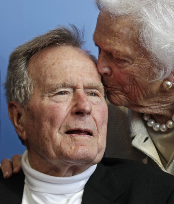 Former President George H.W. Bush, and his wife former first lady Barbara Bush, arrive for the premiere of HBO's new documentary on his life near the family compound in Kennebunkport, Maine in June 2012. Former President Bush has been hospitalized for about a week in Houston for treatment of a lingering cough. Bush's chief of staff, Jean Becker, says the 88-year-old former president is being treated for bronchitis at Houston's Methodist Hospital.