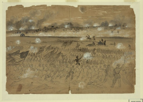 Union Gen. Andrew A. Humphreys leads his infantry division in an attack against Confederate troops entrenched on the hills southeast of Fredericksburg, Va. on Saturday, Dec. 13, 1862. Several Maine infantry regiments, including the 16th Maine, participated in such charges and incurred heavy casualties.
