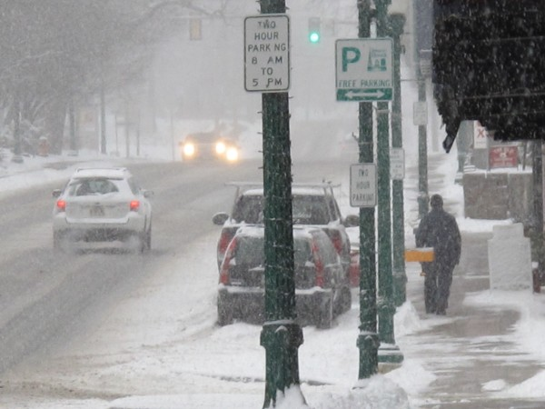 Few cars were out during the usual rush hour in Downtown Ellsworth on Thursday morning, as winter storm Euclid dropped the season's first substantial snowfall on the state. Many local businesses and municipal offices were closed because of the storm.