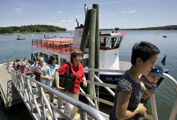 Ferry passengers from Chebeague Island, Maine, arrive on the mainland in 2007.