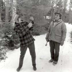 Ardeana Hamlin and her father Floyd Hamlin cut a Christmas tree in Mayfield in 1988.