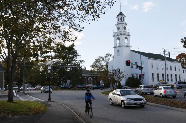 A Unitarian Universalist church dominates one end of downtown Kennebunk. The coastal town has grown weary of its 15 minutes of fame following the Zumba prostitution scandal.