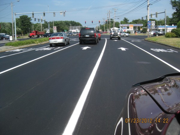 Repaving that was completed in July 2012 at the Cook's Corner interchange in Brunswick was made possible with both state and local funds under a new Maine Department of Transportation Municipal Partnership Initiative.