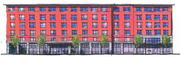 A preliminary sketch of the Courtyard by Marriott hotel complex proposed for 321 Commercial St., between Maple Street and Foundry Lane. The development is now being reviewed by the Historic Preservation Board and Planning Board.