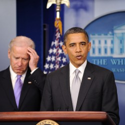 President Barack Obama delivers a statement as Vice President Joe Biden (left) listens in the Brady Press Briefing Room about the policy process the administration will pursue in the wake of the Newtown tragedy, Wednesday, Dec. 19, 2012, at the White House in Washington, D.C.