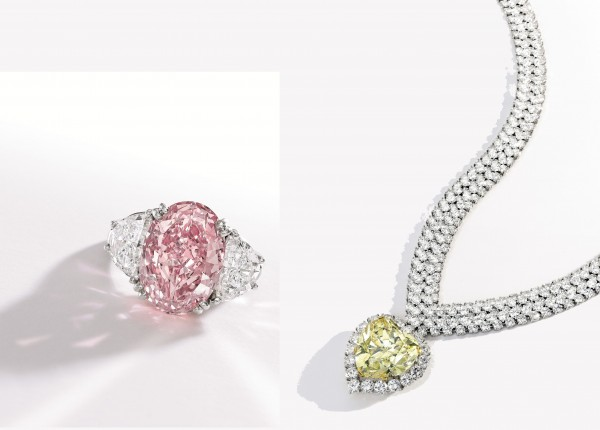 The ring centered by a 6.54 carat pink diamond sold for $8.6 million recently at Sotheby's. In the same sale, the yellow diamond necklace with pendant brought $2.5 million.
