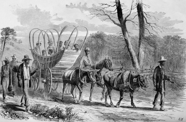 Employed by &quotFrank Leslie's Illustrated Newspaper,&quot artist Edwin Forbes sketches these escaped slaves, known collectively by the legal term &quotcontrabands,&quot fleeing their Southern masters and reaching a Union camp in Virginia. Federal authorities often established camps for escaped slaves; writing from a Mississippi River outpost in Louisiana on Christmas Day 1862, a soldier from Co. A, 14th Maine Infantry, discussed the camp created near his post. He wrote that the former slaves knew about the impending Emancipation Proclamation.