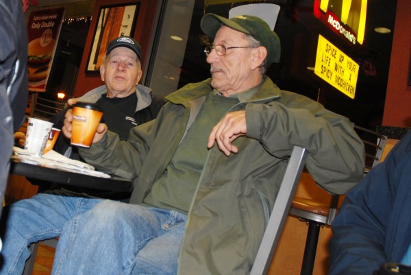 A crew of regulars gather at the Fort Kent McDonald's every morning to discuss everything from the weather to the latest in politics. &quotWe're the first shift,&quot Gil Gagnon (right) said. Sharing a cup of coffee and some conversation is fellow retiree Omer Dubois.