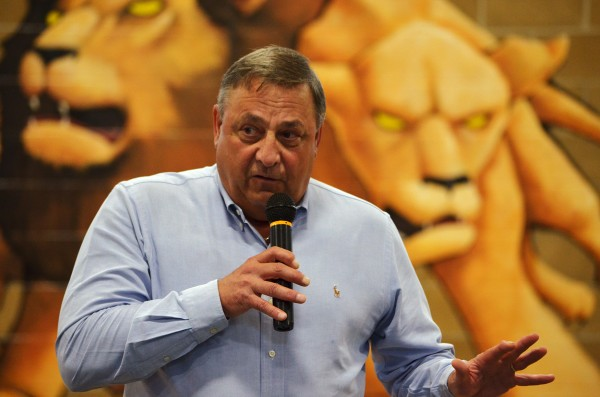 Gov. Paul LePage speaks to a crowd of students at Penobscot Job Corps Academy in Bangor on Friday, June 22, 2012.
