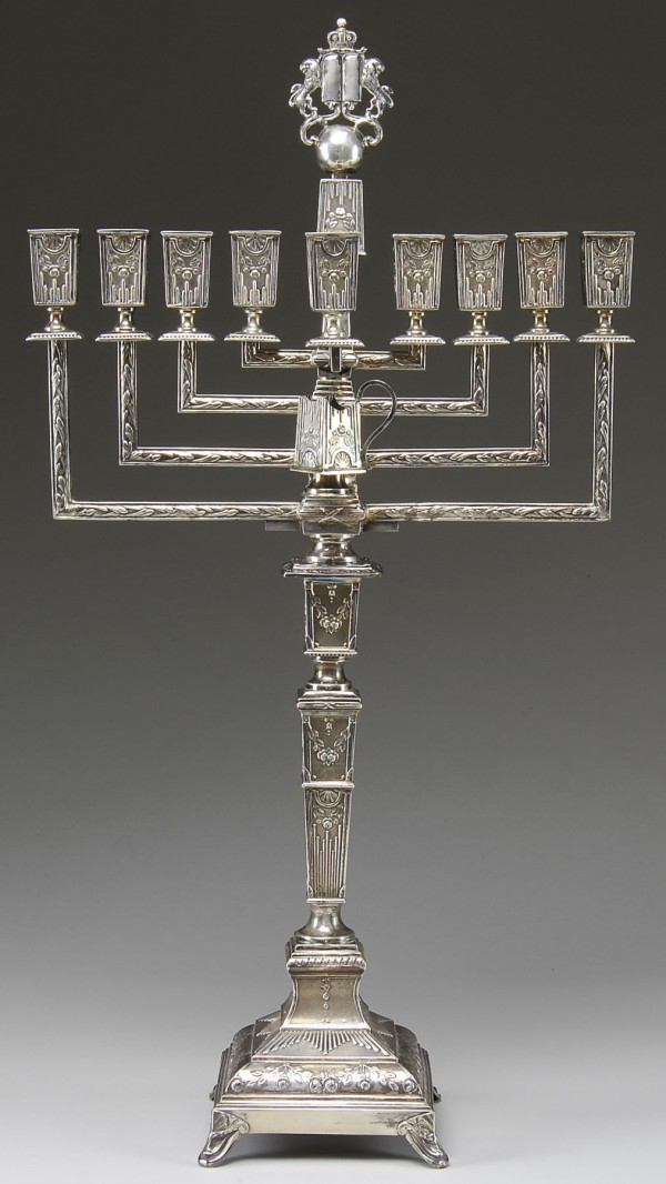 The large Russian sterling silver menorah brought $5,750 this summer at James D. Julia.