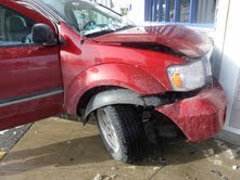 A 2008 Dodge Durango crashed into the front wall of a Rite Aid Pharmacy in Wells on Sunday, Dec. 30, 2012, after its driver, a 55-year-old Wells woman whose name was not immediately available, accidentally hit her gas pedal instead of her breaks.