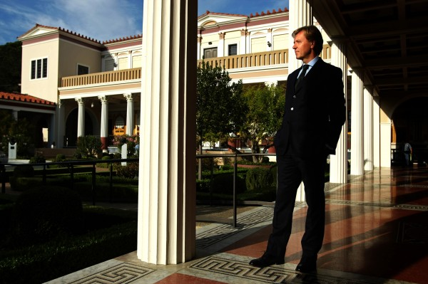 Timothy Potts, director of the Getty Museum, takes in the view at the Getty Villa in Malibu, California in October 2012.