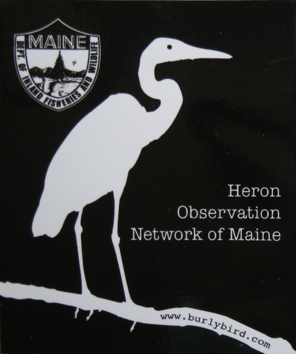 Heron Observation Network sticker, a partnership between MDIF&W and Burly Bird.