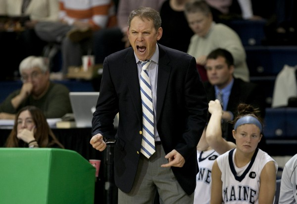 Maine head coach Richard Barron yells to his players in the second half against Rhode Island at the Portland Expo, Saturday, Dec. 8, 2012, in Portland.