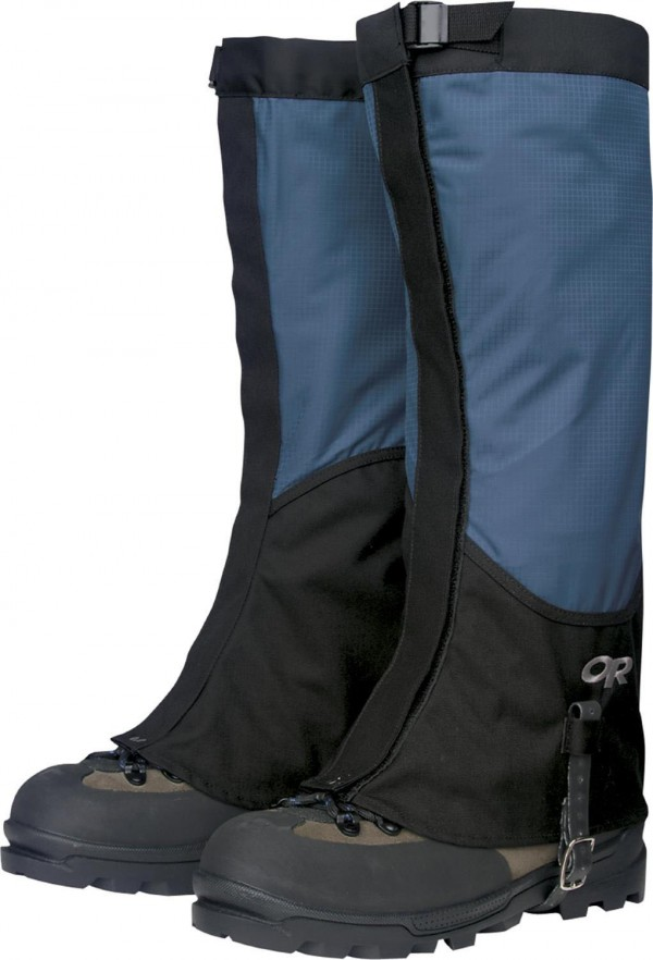 The Outdoor Research's Verglas Gaiters are lightweight and offer solid protection from heel to knee. Available in both men's and women's styles. Colors are black and black/blue. Purchase online at outdoorresearch.com. Price is $54.