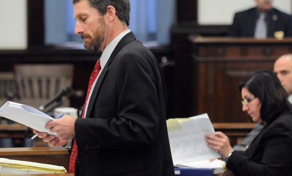 Robert Lee Nelson's defense attorney Philip Mohlar (left) and Assistant Attorney General Leane Zainea listen during the closing arguments of his trial at Somerset County Superior Court on Tuesday, Dec. 4, 2012. Nelson is accused of shooting and killing Everett Cameron in October 2009.