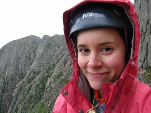 "Kim Robichaud of Orrington looks into the camera before climbing ""The Armadillo"" on Katahdin."