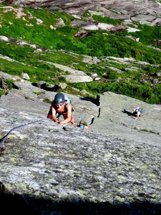 Kim Robichaud of Orrington climbs the main crack face of the Flatiron in Katadhin's Great Basin.