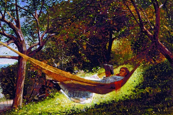 Winslow Homer's &quotGirl in the Hammock,&quot 1873, oil on canvas, is on display at the Colby College Museum of Art as part of The Lunder Collection.