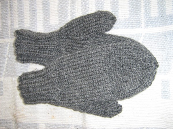 These mittens knit of chunky wool yarn have been earmarked for use while shoveling snow.