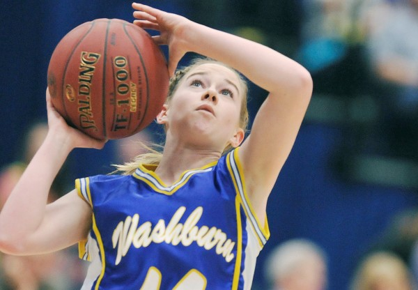 Washburn's Mackenzie Worcester drives for two points during last season's state-title win over Richmond in the Class D final at the Augusta Civic Center. Worcester returns this season to help the Beavers defend their title.