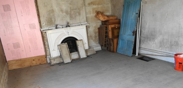 A marble fireplace in the Franklin Treat house.
