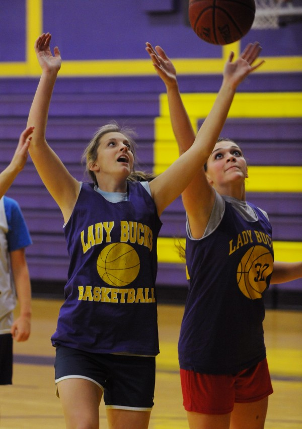 Bucksport High School girls basketball players Alanna Davis (left) and Taylor Staples practice at the high school gym on Monday, Dec. 3.