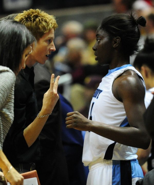 Rhode Island assistant basketball coach Cindy Blodgett talks to a player during their game against Delaware in Kingston, R.I., on Wednesday, Dec. 5, 2012.