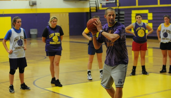 Bucksport High School girls basketball coach William Tracy works with his team during a practice at the high school on Monday, Dec. 3.