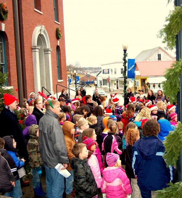 Almost 200 young carolers made the rounds in Machias on Friday morning, Dec. 21, 2012, brightening the holidays for nursing home residents, hospital patients and others throughout the Washington County community.