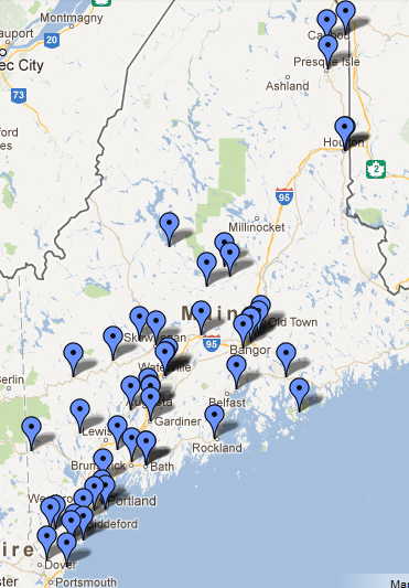 A map of law enforcement agencies in Maine that accept unused medicines for disposal. For more information visit www.safemeddisposal.com.