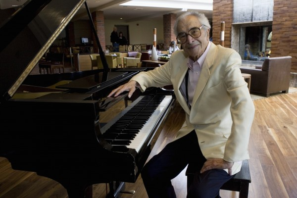 Dave Brubeck sits next to a piano in Monterey, Calif., in this September 2007. Jazz pianist Brubeck, whose choice of novel rhythms, classical structures and brilliant sidemen made him a towering figure in modern jazz, has died at the age of 91, his longtime manager and producer Russell Gloyd said on Wednesday, Dec. 5, 2012.