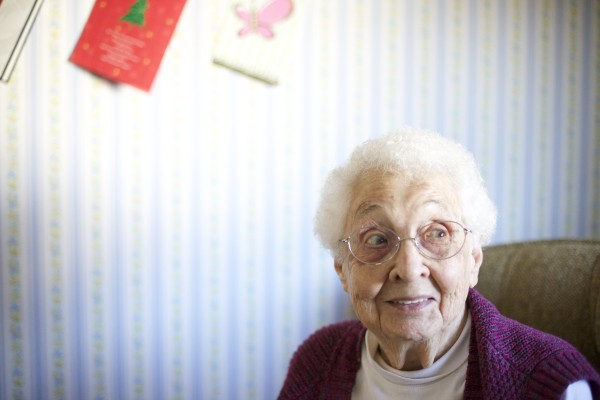 Francis Marcelonis of Brewer will turn 100 years old on Christmas Day. Marcelonis is the daughter of Lithuanian immigrants and lives with her grandson Steve Alekshun.