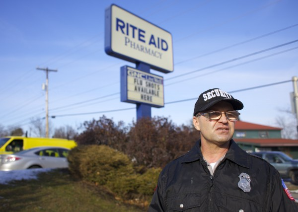 Jerry Lavertu of Hampden is a part-time security guard who works for Security Seaboard. Lavertu and other security officers have been placed at Rite Aid pharmacies after a series of pharmaceutical robberies in the area.