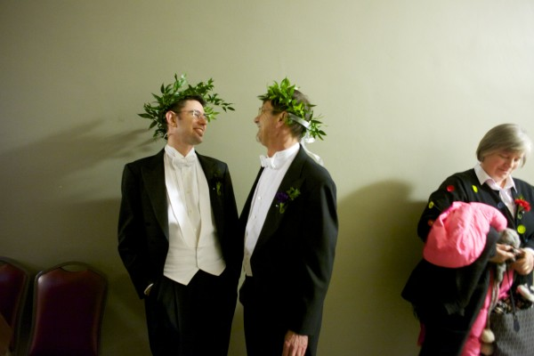 Jamous Lizotte (left), 35, and Steven Jones, 52, wait in line at Portland City Hall to  get legally married.