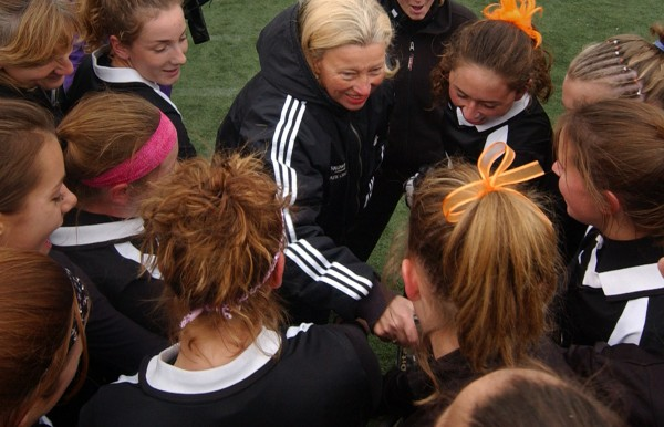 Skowhegan field hockey coach Paula Doughty (top, center) congratulates her players following their Class A state-title victory over Bonny Eagle in 2005. Doughty will be among nine people inducted into the Maine Sports Hall of Fame in May.