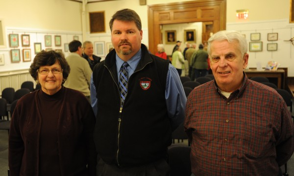 Laura Sanborn (from left), Joe Clark and Michael Pearson were nominated for Penobscot County Commissioner by the Penobscot County Democratic Committee on Thursday at the Bangor Public Library. Stephen Stanley, of Medway resigned last week as a county commissioner to serve in the Legislature. Gov. Paul LePage will appoint one of the three to fill the final two years of Stanley's term.