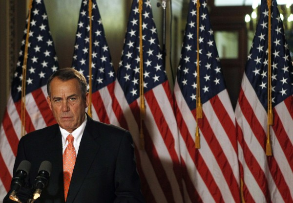 House Speaker John Boehner makes a brief statement to the media at the Capitol in Washington December 19, 2012. Frustrated by their inability to wring more &quotfiscal cliff&quot concessions out of President Barack Obama, Republicans in the U.S. House of Representatives announced Tuesday night that they expect to pass their own tax bill as a backup plan to avert the tax hikes and automatic budget cuts set to occur in January.
