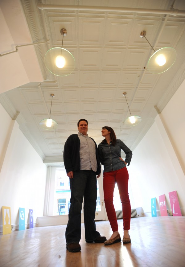 Josh Schmersal, left, and Anne Schmidt have created a new business called Coespace on Columbia Street in Bangor. Coespace is an all-purpose event space to be rented by anyone who wants to use it for anything from a party to a rehearsal hall or even a yard sale.