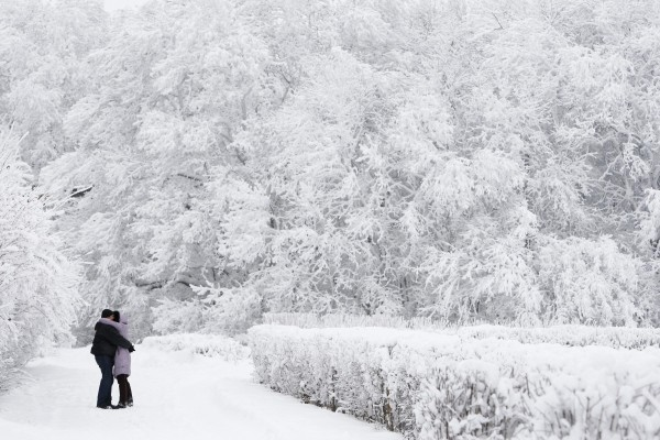 A couple embrace in a park with snowy trees seen around, with the air temperature at about minus 17.6 degrees Fahrenheit, in Russia's southern city of Stavropol, Dec. 24, 2012. Russia is enduring an abnormally cold winter, the most severe in more than 70 years, according to local media.