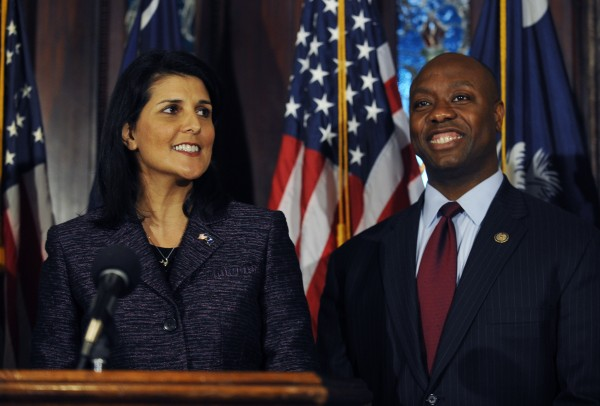 South Carolina Gov. Nikki Haley, left, announces U.S. Rep. Tim Scott, right, as Sen. Jim DeMint's replacement in the U.S. Senate during a news conference at the South Carolina Statehouse, Monday, Dec. 17, 2012, in Columbia, S.C., making him the only black Republican in Congress and the South's first black Republican senator since Reconstruction.